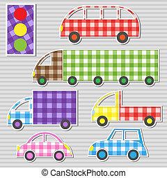 textil, conjunto, pegatinas, transporte, vector