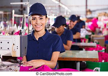 textil, costura, joven, máquina, utilizar, maquinista