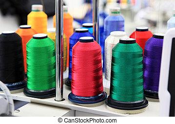 textil, hilos, fábrica, colorido, cono