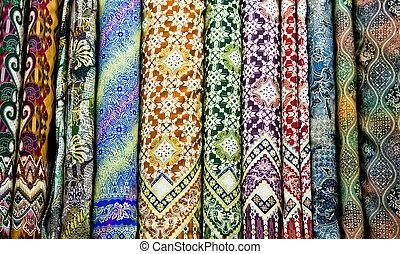 textil, indonesia., coloreado, java, yogyakarta, tradicional, este, bazar