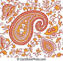 textil, motívum, indiai