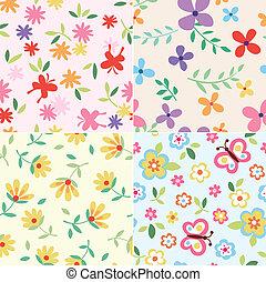 textil, motívum, virág, seamless
