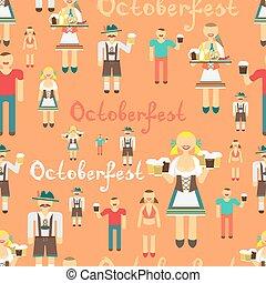 textil, seamless, patrón, plano, caricatura, estilo, para, oktoberfest., hombres, bebida, cerveza, afuera, de, grande, mugs., alemán, mujeres, en, nacional, costume., niña, camarera, con, un, bandeja