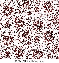 textil, vektor, virágos, háttér