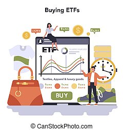 Textile, apparel, footwear and luxury goods production online service or platform. Buying ETFs. Isolated flat vector illustration