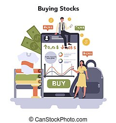 Textile, apparel, footwear and luxury goods production online service or platform. Buying stocks. Isolated flat vector illustration