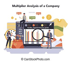 Textile, apparel, footwear and luxury goods production online service or platform. Multiplier analysis of a company. Isolated flat vector illustration