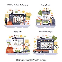 Textile, apparel, footwear and luxury goods production online service or platform set. Multiplier analysis of a company, buying stocks and ETFs, price chart analysis. Isolated flat vector illustration