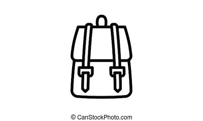 Textile backpack icon animation outline best object on white background