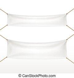 textile, blanc, ensemble, bannières
