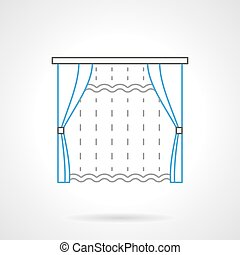 Textile blinds flat line vector icon