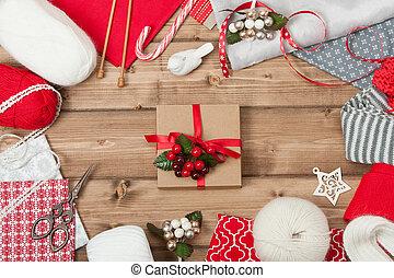 textile., breiwerk, ruimte, houten, naaiwerk, kit., kerstmis, linnen, achtergrond., garen, natuurlijke , kopie, tafel, wol