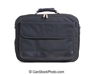 Textile briefcase on white