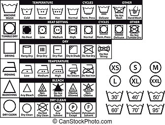 textile care labels and laundry washing symbols, vector set