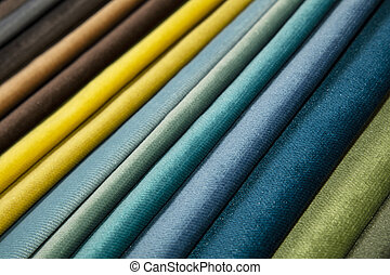 Textile catalogue, colorful fabric samples - Colorful...