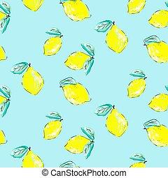 textile, citrus, métier, papier peint, pattern., seamless, main, papier, citrons, sketched, dessiné, print., design.