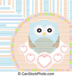 textile cute little owl with love heart vector