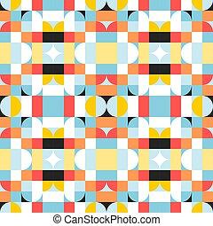 Nordic fashion design. Vector illustration. Simple colorful tiles pattern.