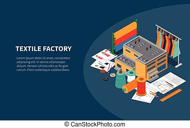 Textile Factory Isometric Composition