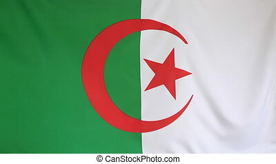 Textile flag of Algeria - Textile Algerian flag moving in...
