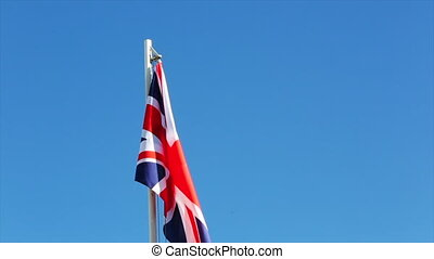 Textile flag of UK with little wind