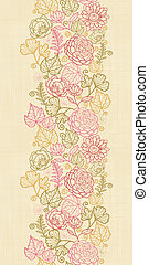 Textile flowers vertical seamless pattern background border