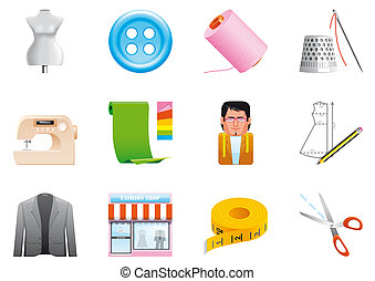 Textile icons - Textile and sewing icons