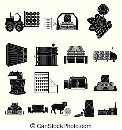 Textile industry black icons in set collection for...