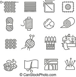 Textile industry outline icons set with cloth and fabtic samples isolated vector illustration