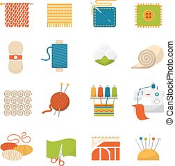 Textile Industry Icons - Textile industry flat icons set ...