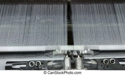Textile Industry. Industrial Loom - Row of automated...
