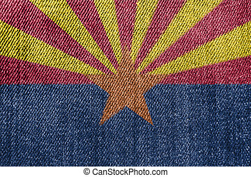 Textile Industry Or Politics Concept: Arizona Flag Denim Jeans Background
