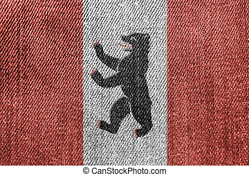 Textile Industry Or Politics Concept: Berlin Flag Denim Jeans