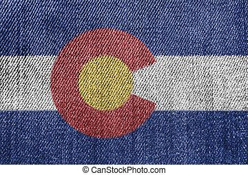 Textile Industry Or Politics Concept: Colorado Flag Denim Jeans