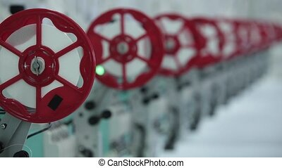 Textile industry with knitting machines in factory