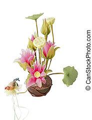 Textile lotus flower in vase