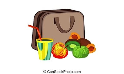 Textile lunchbag icon animation cartoon object on white background