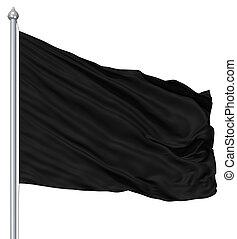 textile, mât, drapeau, ondulé, noir