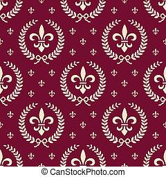 textile, modèle, royal, seamless, rouges