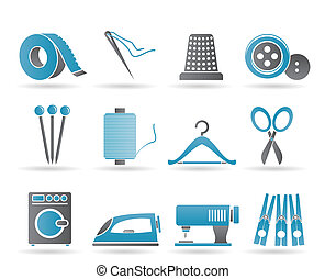 Textile objects and industry icons - Textile objects and...