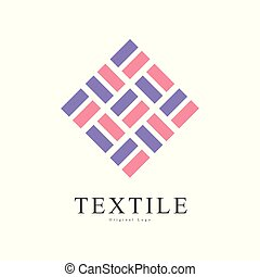Textile original logo, creative sign for company identity, craft store, advertising, poster, banner, flyer vector Illustration on a white background