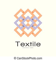 Textile original logo design, creative geometrical badge for company identity, craft store, advertising, poster, banner, flyer vector Illustration on a white background