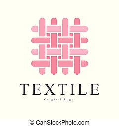 Textile original logo design, creative sign for company identity, craft store, advertising, poster, banner, flyer vector Illustration on a white background