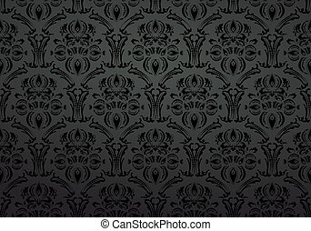 textile, ornement, papier peint, noir