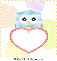 textile owls in love with big heart