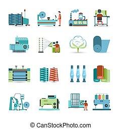 textile, plat, moulin, ensemble, icônes