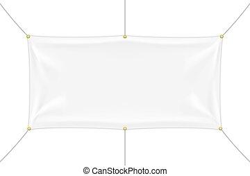 textile, plis, blanc, bannière, mockup