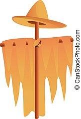Textile scarecrow icon, cartoon style