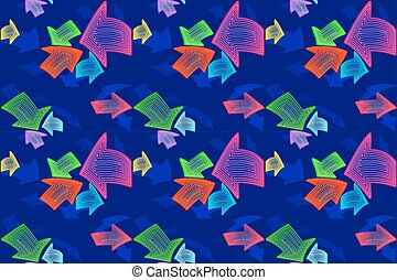 Textile seamless pattern for kids. Abstract neon pointer arrows.