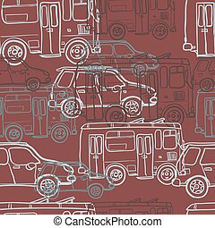 Textile seamless pattern of colored cars and buses